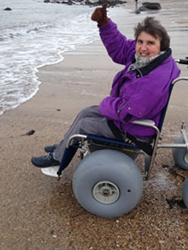 Wheelchair on St Andrews West beach